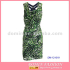 Ladies' Green Summer Dress,Fashion Clothing,Frock with Straps Back