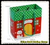 Green christmas gift bags with custom logo