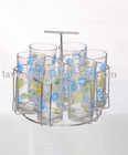 Drinking glass set with metal stand