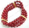 "7.5"" 3rows 6.5mm red coral & golden zircon fitting bracelet"