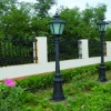 cast iron yard lamp pole with lamp cover