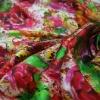 vibrant digital printing silk satin fabrics with flower design