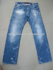 men's 100% cotton denim jeans pants vintage washed