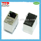 10/100Base-TX Single Port Vertical 180 RJ45 Connector W/Transformer W/LED