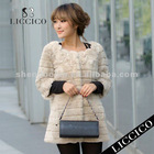 Women beige color Genuine Rex Rabbit Fur Jacket White Fur Coat #009-C-1