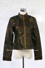 women's leather jacket, CF zip, big rivets at front left&right panel seam, embroidery at chest&sleeve, fake pocket at bottom