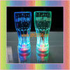 flashing glass with multicolor led light 350ml press on off switch