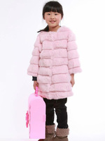 YR-484A Genuine girl's rabbit fur warm coat Children's fur garment
