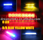 New 8 LED Strobe Flashing Deck high Power Warning light 1W RED/BLUE RED Yellow White Blue