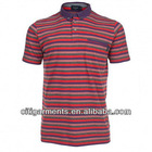 Mens Red Engineered Stripe Polo Shirt 3354