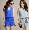 ef1342 Brief Casual High Waist Solid V Neck Women Chiffon Jumpsuits 2012