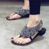 Fshion 2011 New shiny Black crytal stud studded women summer Sandals Shoes US size 5.5/35~US9/40
