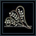 leaf pattern iron on hot fix rhinestone motif for T-shirt