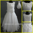 Tank Neckline White Flower Girl Dresses With Flowers FG-070