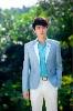 H074-T090 Casual Slim Fit Deep Aqua Suits Set(Jacket and Pants)