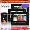 """Wholesales 9"""" TFT LCD touch key wired video intercom 1 to 3,support 4CH video in, 1CH video out,door unlock"""