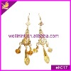 golden rhinestones with metal base crystal earring