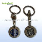 Custom logo with two-dimensional code trolley coin keychain