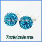 Wholesale Peacock Blue 10mm Crystal Pave Disco Ball Genuine Rhinestone Sterling Silver Earrings 925 Logo Stamped SSCE006