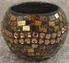 Home decor,Amber beads,Handmade mosaic candle holder
