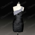2012 Hot Sale One-Shoulder Beaded and Crystals Satin Sexy Sheath Mini Short Cocktail Party Dresses