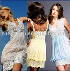 2010 newest style X-2030 zhenzhen chiffon lace prom dress