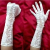 Free Shipping Affordable Flower Beaded White Satin tulle wedding /bridal gown The bride gloves