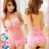 New Sexy Pink Sleepwear Lingerie Dress+G-STRING #7083