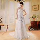 2013 new design white chiffon empire pregnant women dresses wedding dress with lace embellished F-014