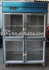 commercial kitchen fridge with 4 glass doors
