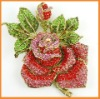 Red large rose rhinestone brooch