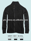 Mens cotton zipper-up sweaters with fashion design in solid color for newest 2013AW