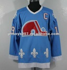 Wholesale retail throwback hocky jerseys Quebec Nordiques Joe Sakic Authentic Sky Blue Jersey