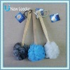 New Leader Natural Wooden Grip PE Bath Ball Sponge Back Brush