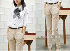 Office lady casual pure cotton pants