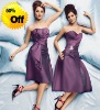 Style RZ-bd030 2012 strapless pleated purple taffeta knee length patterns for bridesmaids dresses