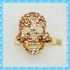 DKR241 hot design gold tone colorful rhinestone skull head ring