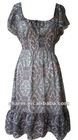 Floral printed Chiffon short flutter sleeves dress with round neckline and frills hem