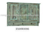 distressed wood wall storage cabinet with hook