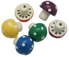Wood Beads, Lead Free, Mushroom, Dyed, Multicolor, Size: about 23x28mm, hole: 2.5mm(WOOD-H002)