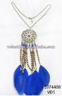 """21""""+2"""" METAL CHAIN NECKLACE W/CHAIN+FEATHER+WOOD/SEED BEADS PENDANT"""