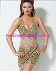 2012 Hot Sale Newest V-Neck Double Straps Beaded and Crystals Backless Organza Sexy Mini Short Cocktail Party Dress