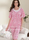 maple leaves printing loose and comfortable 100% cotton ladies's pajamas set