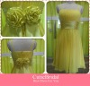 Custom Made Spaghetti Strap Flower Sash Knee Length Bridesmaid Dress A-line Cheap Yellow Short Evening Party Gowns