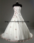 WG0581 hot sale strapless pure white organza beaded lace flower wedding dress