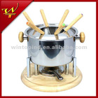stainless steel cheese chocolate fondue set with wooden base