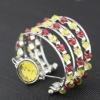 fashion elegant seed bead multistrand silver plated arc-shape quartz ladies bracelets watches