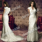 Sexy WG-018 White V-Neck Short-Sleeve Court Train Mermaid Wedding Dress Bridal Gown
