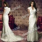 Sexy WG-018 White V-Neck Short-Sleeve Court Train Mermaid Wedding Dress Bridal Gown