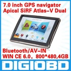 7'' inch car GPS navigation APICAL SiRF Atlas-V Dual core CPU 800MHz DDR 128M 4G memory Bluetooth/AV-IN